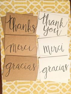 6 Thank You Cards-including Gracias & Merci  on Etsy