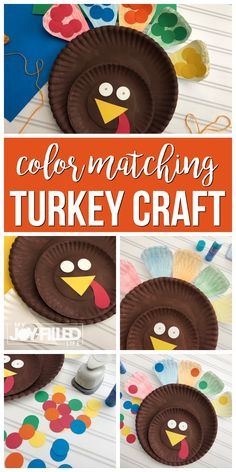 This color matching turkey craft is not only adorable and easy to make, it's educational too. #turkeycraft #preschool #craftsforkids via @slavila