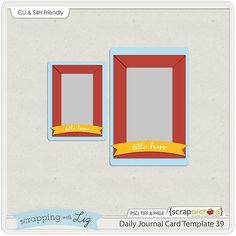 Daily Life Journal Card Digital Template Freebie. *