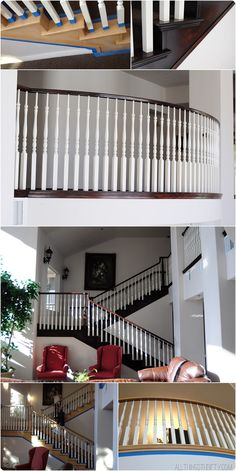 to Stain an {UGLY} Oak Banister Dark How to stain an oak banister dark.How to stain an oak banister dark. Oak Banister, Banisters, Railings, Stair Railing, Home Renovation, Home Remodeling, Banister Remodel, Do It Yourself Furniture, Staircase Makeover