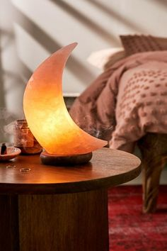 Moon Himalayan Salt Lamp -Crafted from natural Himalayan salt rock said to help eliminate allergens smoke dander pollen other air pollutants by releasing ions! Care Skin Condition and Treatment Oil Makeup Design Diy, Home Interior, Interior Design, Zen Room, Home Yoga Room, Yoga Bedroom, Zen Bedrooms, Bohemian Bedrooms, Himalayan Salt Lamp