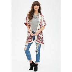 Forever 21 Women's  Fringed Tribal Pattern Cardigan (250 ZAR) ❤ liked on Polyvore featuring tops, cardigans, white short sleeve cardigan, white slip, full length slip, forever 21 cardigan and lightweight cardigan