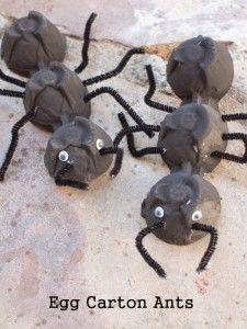 Créer une fourmi en bricolant une boite à oeuf                                                                                                                                                                                 Plus