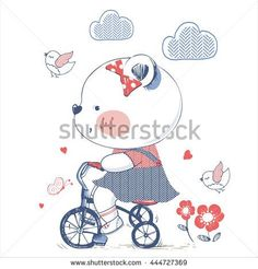 bear/hand drawn vector illustration of Cute bear girl Riding a Bicycle/Tricycle/can be used for kid's or baby's shirt design/fashion print design/fashion graphic/t-shirt/kids wear