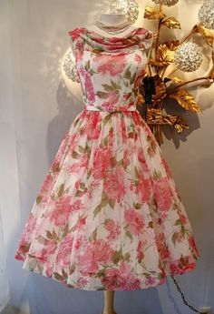 From the archives of Xtabay Vintage Shop.THE Betty Draper dress, rose print chiffon quintessential early party dress. by gayle Vestidos Vintage, Vintage Dresses, Vintage Outfits, Vintage Clothing, 1950s Dresses, Vintage Shoes, 1950s Fashion, Vintage Fashion, Vintage Style