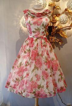 Betty Draper dress, rose print chiffon quintessential early 60's party dress
