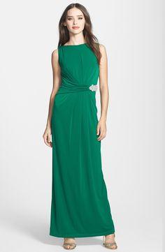c20cd9c8a5264 Ellen Tracy Embellished Waist Back Drape Jersey Gown Mob Dresses