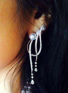 Mikimoto Regalia Akoya Cascade Earrings (Akoya cultured pearls with diamonds, set in 18k white gold) http://www.mikimoto.co.uk/collections/mikimoto-regalia.html