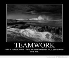 Teamwork There Is Rarely A Person I Hate, It's More Often Than Not, A Person I Can't Work With.