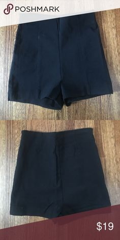 Black High-Rise Shorts Black tight short shorts. 73% rayon, 23% nylon, 4% spandex. stretchy material! High rise fit. Perfect to go out at night. Great condition. Size medium. The peach and blue shorts in the pictures are the same exact shorts just in other colors. Posted to show how they look modeled ! Shorts