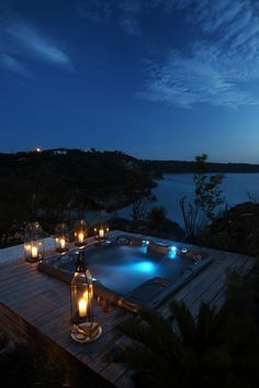 A hot tub can be a romantic spot for you and your loved one. These romantic hot tub ideas will inspire you to create a romantic vibe for your special moment. Romantic Night, Romantic Places, Beautiful Places, Dream Pools, Luxury Villa, Beach Trip, Hotels And Resorts, Dream Vacations, Caribbean
