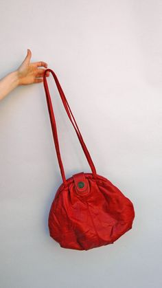 Vintage 1980s Purse - Lipstick Hobo - Eighties Bright Red Capezio Satchel Bag. $30.00, via Etsy.