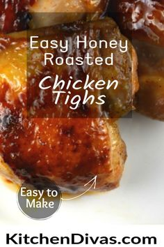 Easy Honey Roasted Chicken Thighs are baked in an oven or air fryer, and as a bonus includes the best recipe for a whole, oven baked, crispy honey chicken. #chickenrecipe #chickenthigh Honey Chicken Thighs, Crispy Honey Chicken, Roasted Chicken Thighs, Baked Chicken, Great Chicken Recipes, Dinner Recipes Easy Quick, Easy Dinners, Bhg Recipes, Kitchen Recipes