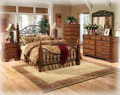 Wyatt Traditional Medium Brown Cherry Wood Metal Master Bedroom Set