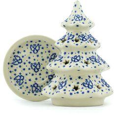 Polish Pottery 6-inch Christmas Tree Candle Holder | Boleslawiec Stoneware | Polmedia H2289H | Polmedia