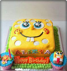 Tarta de Bob Esponja #cumpleanos #feliz_cumpleanos #felicidades #happy_birthday #tarta_cumpleanos #pastel_cumpleanos #birthday_cake