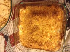 I call this one, Superbowl Dip.  2 C sour cream  1 C chopped green onions  2 C shredded cheddar  3 oz bacon (cooked and chopped)  8 oz softened cream cheese  Combine all ingredients in an 8'x8' baking dish. Bake at 400 F for 30 mins.  I added a crispy top with crushed Corn Flakes in the photo.  Serve with dippable items--Enjoy!