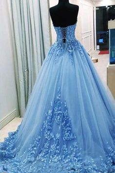 Light Blue Sweetheart Appliques Tulle Wedding Dress, Long Puffy Prom Dress W56 #weddingdress #promdresses