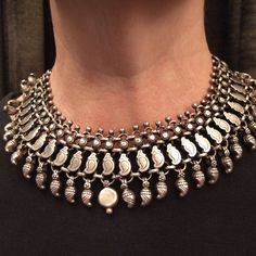 Silver, india Description Authenticity, simplicity and splendid patina make of this necklace from Rajastan a wearable jewel by all the women who like the jewels which have a soul…