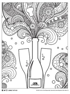 wine coloring page 21 k Pinterest Wine Adult coloring and