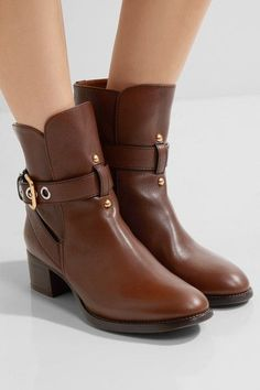 Heel measures approximately 40mm/ 1.5 inches Brown leather Buckle-fastening ankle strap Made in Italy