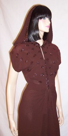 1stdibs.com | 1940's Brown Crepe Sequined Dress with Hood
