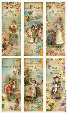 Vintage Printables 2 (I Believe they are in French. Images Vintage, Vintage Tags, Vintage Labels, Vintage Ephemera, Vintage Pictures, Vintage Postcards, Vintage Prints, Vintage Bookmarks, Paper Bookmarks
