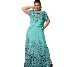 Plus Size M-6Xl Summer Women Print Short Sleeve Casual Floor-Length Long Dress