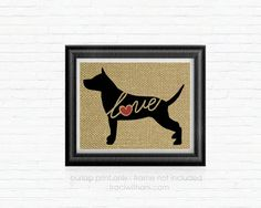 American Staffordshire Terrier Love  Burlap by TraciWithaniDesigns