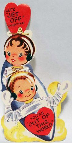 J1230 50s Astronaut Kids JET OFF! Spaceship-Vintage Diecut Valentine Card