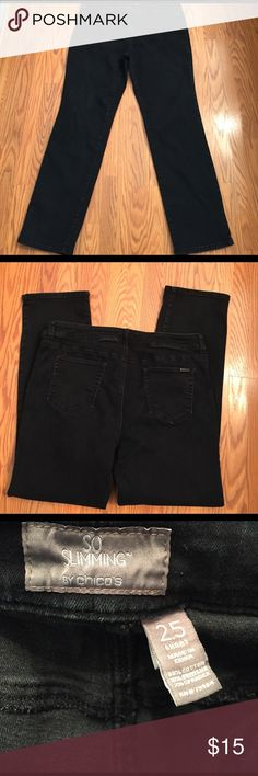 "Chico's jeans Chico's so slimming jeans, inseam 29"" Chico's size 2.5 see chart Chico's Jeans Straight Leg"