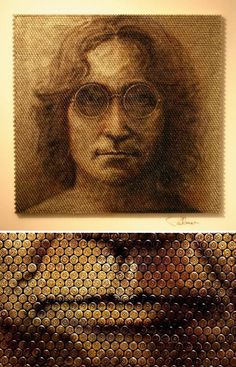 Portrait made with Bullets