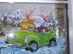 Santa driving volkswagen beetle window painting (this would be a stretch.I don't know if i'm THAT talented! Old Window Art, Painted Window Art, Painting On Glass Windows, Window Paint, Christmas Open House, Christmas Store, Christmas Fun, Christmas Window Display, Christmas Scenes