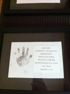 God parent gift, handprint in black shadow box frame