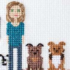"160 Likes, 13 Comments - Cross stitch family portraits (@famolya) on Instagram: ""I love how these two dogs came out.And lady's necklace. See previous post with the other 3 pets…"""