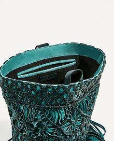 Image 6 of FRINGED LEATHER BUCKET BAG from Zara