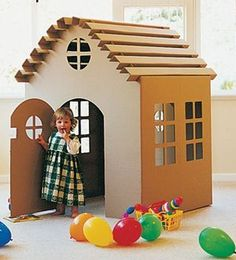 44 Elegant Diy Cardboard Crafts Ideas For Kids Toys To Try Right Now - We spend more time inside during the winter months, and finding interesting things to do can often become a challenge with kids at home. Cardboard Houses For Kids, Cardboard Castle, Cardboard Playhouse, Cardboard Design, Cardboard Crafts, Castle Playhouse, Cardboard Tubes, Cardboard Furniture, Kids Furniture