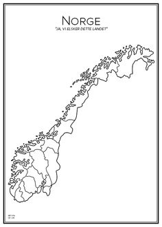 Norge. Norway. Map. City print. Print. Affisch. Tavla. Tryck.