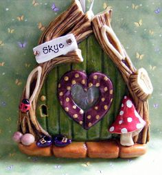 door made out of salt dough - recipe at: http://allrecipes.com/recipe/dough-ornament-recipe/