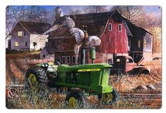 Barnyard Tussle by Kevin Daniel, John Deere, Satin Finish Art on Metal, Cabin Lodge Country home decor wall art, KDA, FREE Shipping by HomeDecorGarageArt on Etsy