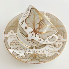 Ridgway coffee cup and saucer, acanthus leaves, ca 1850