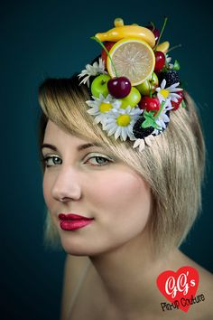 Carmen Miranda Fruit and Flower Fascinator by ggspinupcouture, $92.00