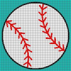 Baseball (Graph AND Row-by-Row Written Crochet Instructions) – 03 Graph Crochet, C2c Crochet, Filet Crochet, Learn To Crochet, Hand Crochet, Baseball Cross, Corner To Corner Crochet, Bobble Stitch, Crochet Instructions