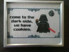 darth vader star wars come to the dark side we have cookies geek with curves: Stitching a tauntaun (geeky cross stitch patterns)