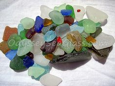Sea Glass For Sale~ Unusual shapes and colors - 65 pieces genuine beach glass for your crafts or mosaics, etc ~ PS2130 by OdysseySeaGlass on Etsy