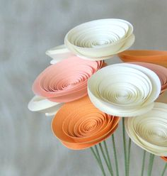 Sherbert Pastel Paper Flowers - 12 Paper Flowers in Peaches and Cream - Spring Centerpiece. $24.00, via Etsy.
