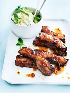 Sticky Chilli Ribs with Coconut and Cabbage Slaw // Donna Hay Rib Recipes, Asian Recipes, Chicken Recipes, Dinner Recipes, Cooking Recipes, Healthy Recipes, Dessert Recipes, Dessert Bread, Recipies