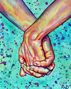 Original watercolor  Hand in Hand by rachelledyer on Etsy, $60.00