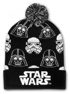 """Star Wars Darth Vader & Stormtrooper"" Beanie by Loungefly (Black/White) #inked #tattoo #beanie #stormtroopers #darthvader #pom #knit #black #white"