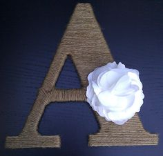Yay, we gots the   A! :) Personalized Twine Wrapped Letter with Flower by exclusivEncounter, $19.00